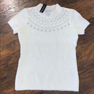 WHBM White Embellished Top